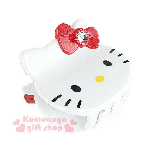 〔小禮堂〕Hello Kitty 造型鯊魚夾《白.大臉.紅蝴蝶結》甜美可愛