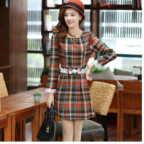 修身顯瘦長袖袖格子連身裙(2款S~XXL)