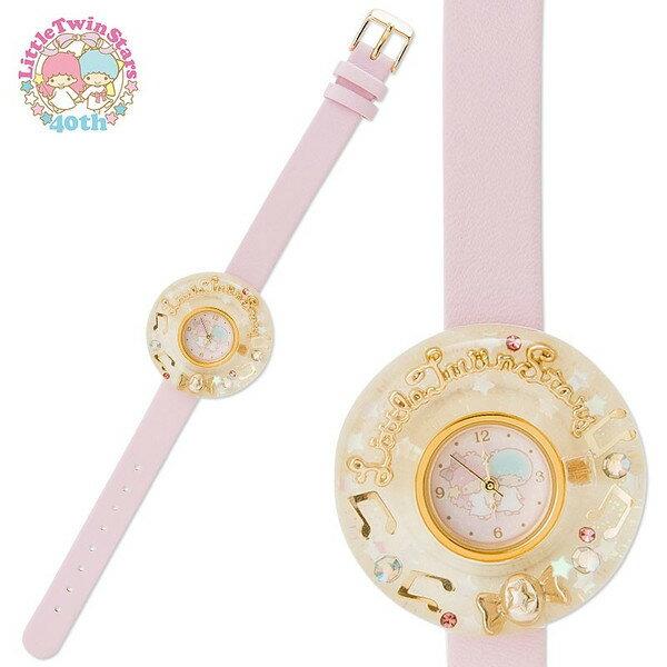 【真愛日本】15102800026 粉皮帶圓錶-壓克力鑲鑽音符 三麗鷗家族 Kikilala 雙子星 手錶 鐘錶