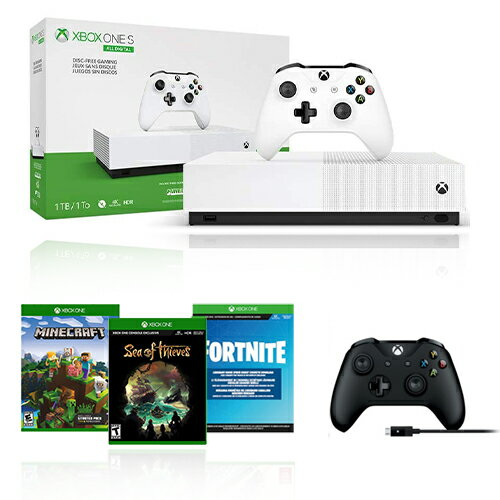 Microsoft Xbox One S 1TB All-Digital Edition Console w/ Fortnite exclusive (Disc-free Gaming) (Robot White) + Xbox Wireless & Cable Controller - Black