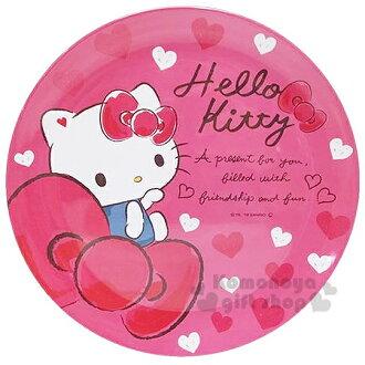 〔小禮堂〕 Hello Kitty 美耐皿盤《桃.坐姿.愛心.蝴蝶結》 20cm
