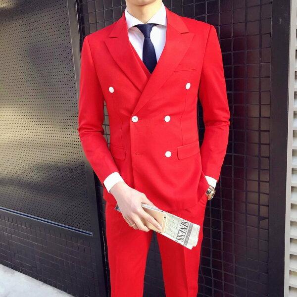 FINDSENSEH1男士耀眼大紅色喜慶婚禮雙排扣修身西服三件套裝