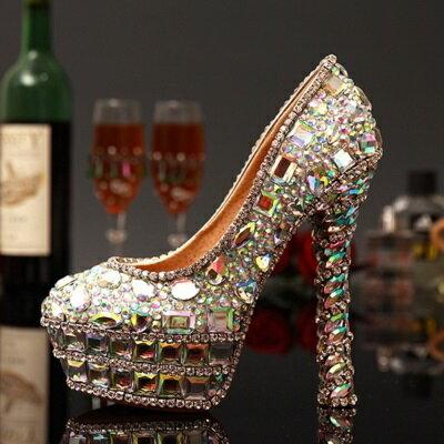 ☆圓頭高跟鞋水晶婚鞋-獨特個性炫彩亮麗女鞋子73e17【獨家進口】【米蘭精品】