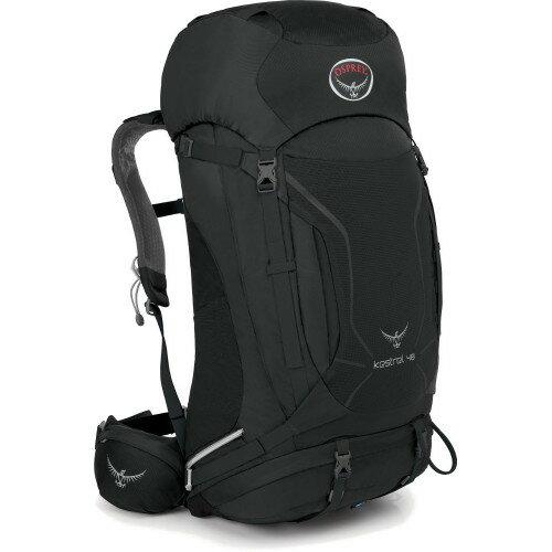 【【蘋果戶外】】Osprey 033748 KESTREL 48 M/L 黑灰 現貨 小鷹級 輕量健行背包 3D立體網背 登山杖扣 自助旅行.出國打工度假