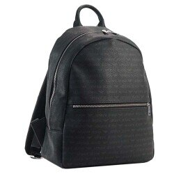 ARMANI JEANS 經典品牌字母LOGO圖騰後背包(黑)