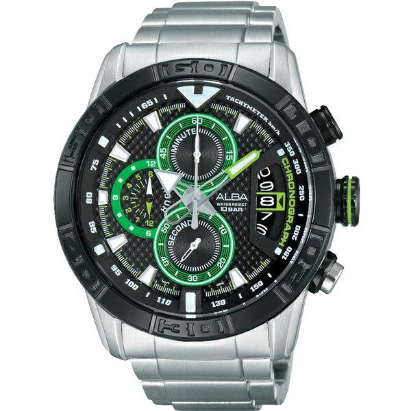 ALBA VK67-X008D(AV6047X1)競速奔馳計時腕錶/黑面46mm