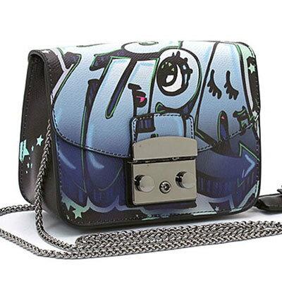 Outlet代購 歐美 FURLA 爆款塗鴉系列 藍色眼睛 單肩小方包 單肩包 斜跨包 跑趴 多色可選