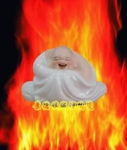 景德鎮瓷器工藝品 哈哈羅漢笑佛 雕塑白開片藝術陶瓷 擺設送禮(4)