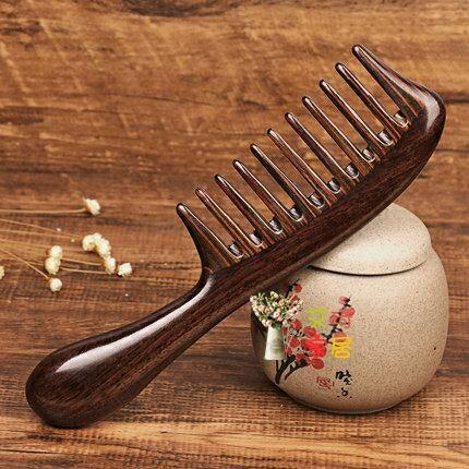 木梳 黑檀木大齒天然卷髮梳寬齒防靜電女順髮家用按摩梳子