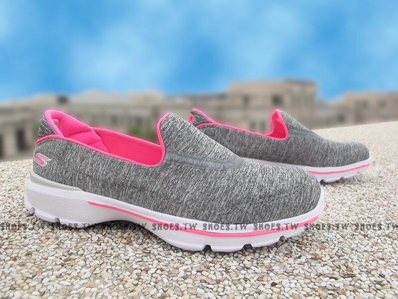 Shoestw【81076LGRY】SKECHERS 中童鞋 GoWalk3 超軟Q底 灰雪花 好穿脫
