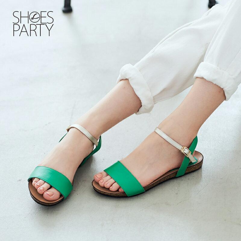 【S2-17326L】服貼牛皮底單色涼鞋_Shoes Party 3
