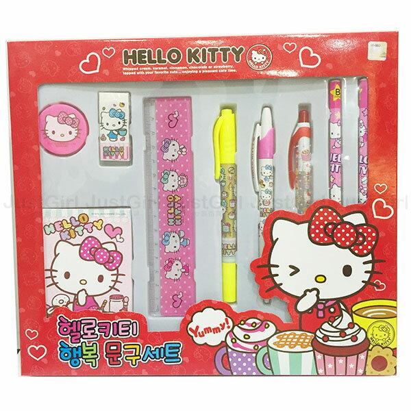 HELLO KITTY 文具組 鉛筆 尺 橡皮擦 螢光筆 原子筆 筆記本 消筆機 文具 韓