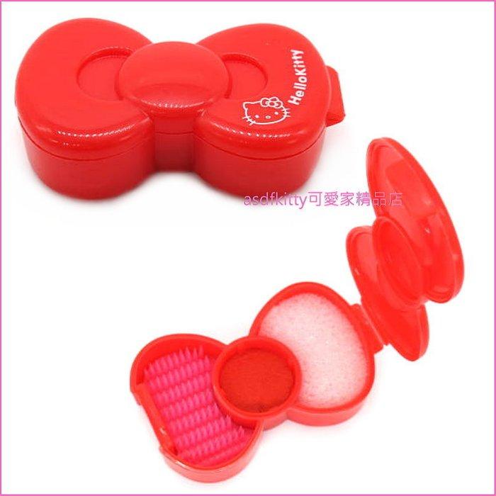 asdfkitty可愛家☆KITTY蝴蝶結造型紅色印泥-適用直徑1.8公分以下的印章-日本正版商品