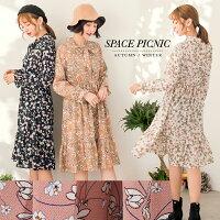 時尚洋裝 小禮服推薦到長袖 洋裝 Space Picnic 現貨.滿滿花朵印圖綁繩長袖洋裝【C17123020】