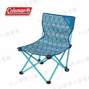 【露營趣】中和安坑 Coleman CM-22004 藍葉圖騰樂趣椅 折疊椅 休閒椅 釣魚椅 童軍椅