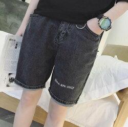 FINDSENSE品牌 男 潮 街頭時尚 休閒 字母刺繡 鐵環裝飾 休閒短褲 牛仔短褲
