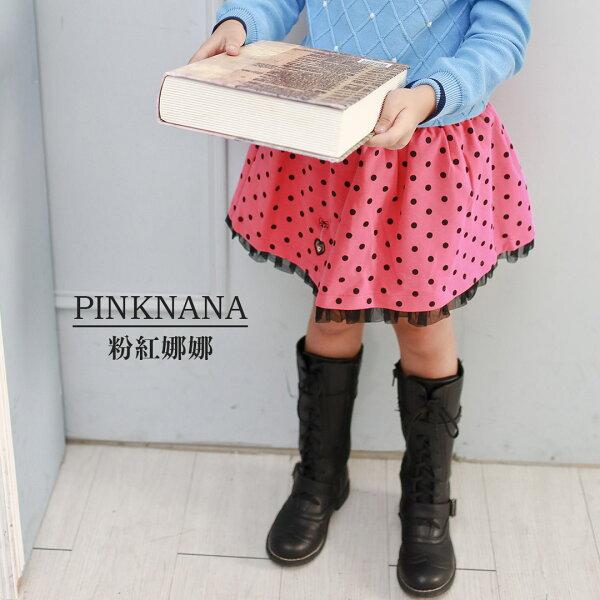 Pink Nana:PINKNAN童裝女童點點百褶短裙28119