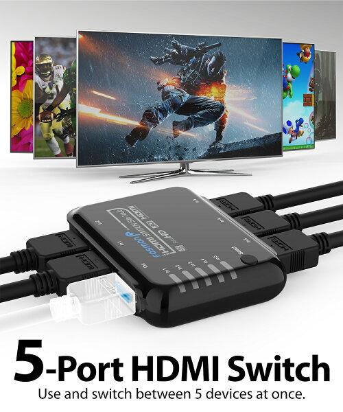 Fosmon 5 Port Hdmi Switch Hdmi 2 0 Auto Switch 4k 60hz 5x1 Switcher Splitter Box With