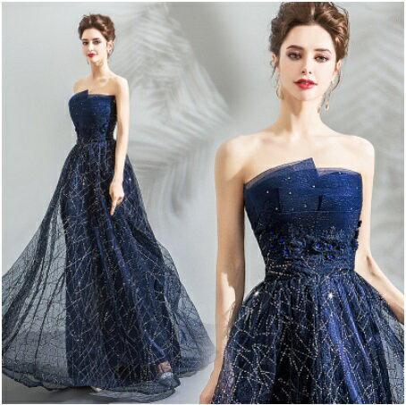 天使嫁衣【AE3706】深藍色層次感抹胸亮片星空小托尾禮服˙預購訂製款