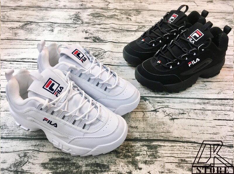 -DTK-實體店面FILA 鋸齒鞋 老爹鞋 DISRUPTOR 2 RAY 焦糖 白粉 白 紅綠 黃藍  黑 粉雷射 增高