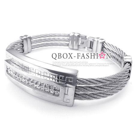 ~QBOX ~FASHION 飾品~W10024499~精緻 立體雙層鑲鑽鋼絲316L鈦鋼