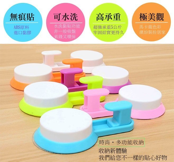 派樂強力防水膠無痕掛勾(1個)鐵鉤/塑膠鉤任選顏色隨機防水防潮客聽廚房浴室適用免鑽孔鑽洞牆壁快速安裝