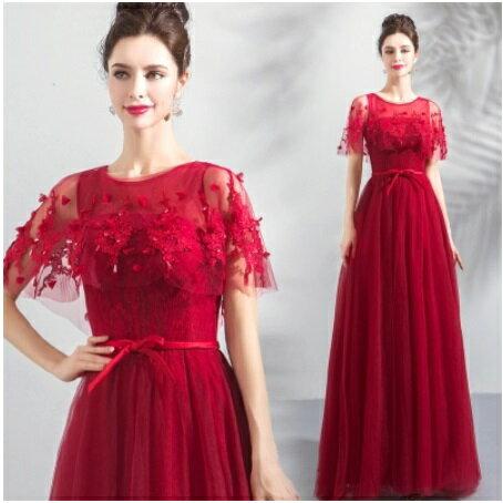 天使嫁衣【AE5616】紅色蕾絲網紗披肩顯瘦收腰長禮服˙預購訂製款