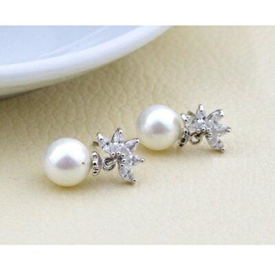 ~925純銀耳環鑲鑽耳飾~ 珍珠 七夕情人節 女飾品2色73hz48~ ~~米蘭 ~