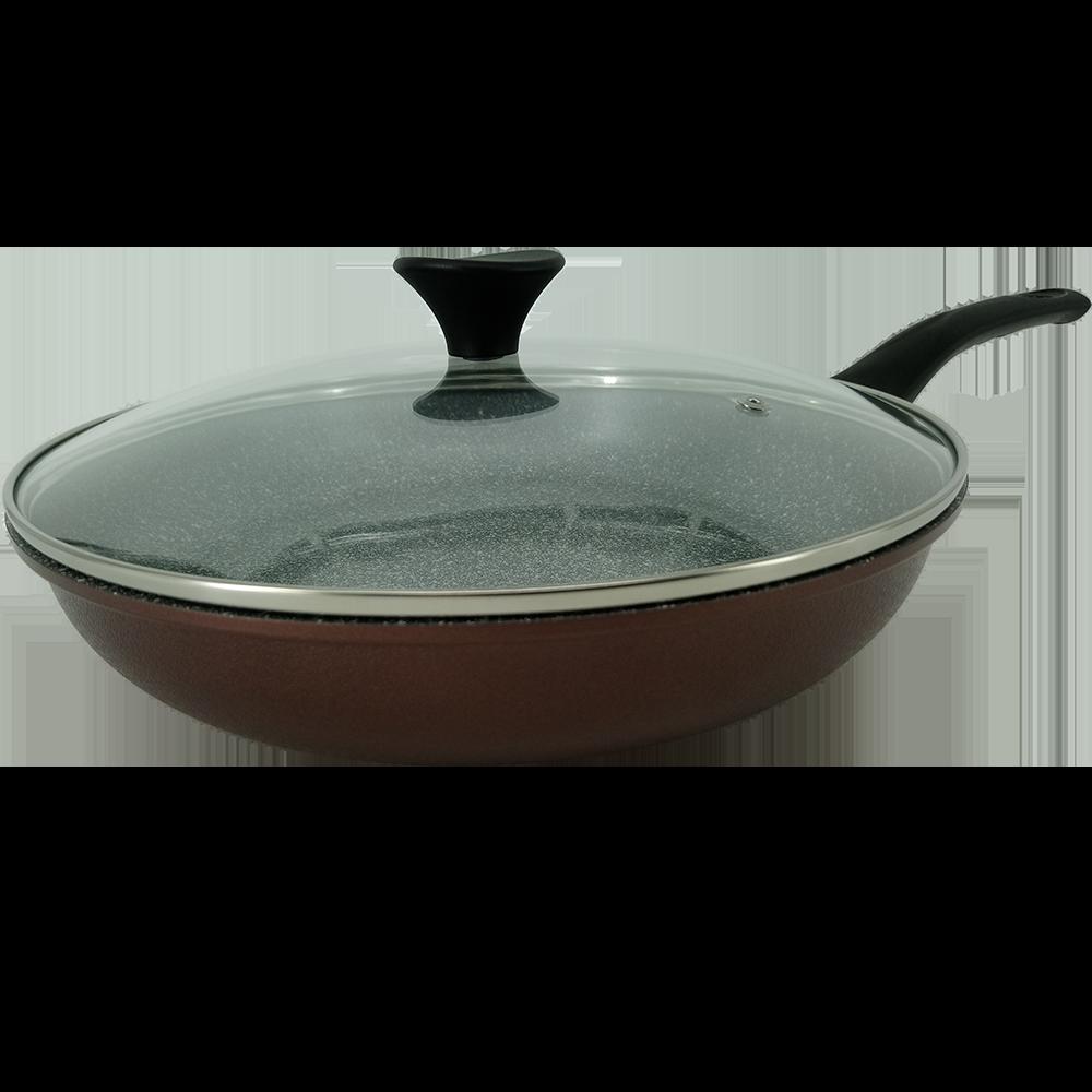 韓國Ecoramic鈦晶石頭抗菌不沾鍋 平底鍋【30cm 酒紅色大深鍋 】