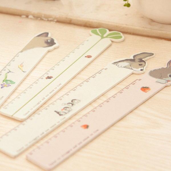=優生活=韓國創意彩繪動物 兔子 貓咪 幸運草 小狗 木直直尺 學生專用尺 15公分 卡通尺