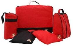 【大嘴猴】paul frank 旅行收納組 五件式收納袋-紅色