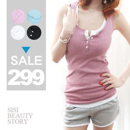 SiSi Girl:SISI【V5008】花樣青春清爽螺紋棉排扣無袖背心上衣純色無袖合身上衣內搭