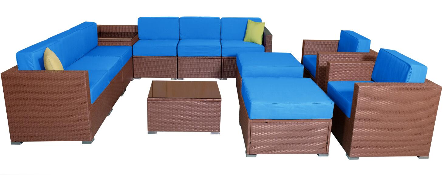 Mcombo Patio Furniture Sectional Sets Wicker Rattan Couch Sofa Chair Luxury Size 13 Pc Blue