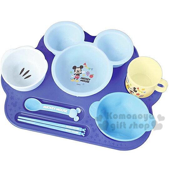 〔小禮堂嬰幼館〕迪士尼 米奇 日製嬰兒餐具禮盒《藍.大臉.星星.7件組》