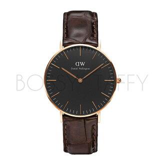 DanielWellington DW00100140 Classic Black 深咖啡色壓紋皮革腕錶 金框 36mm