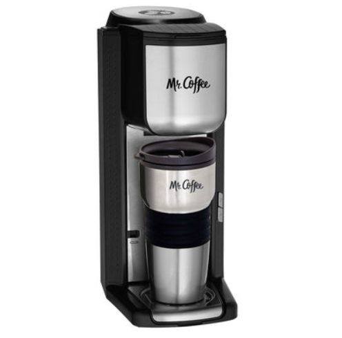 Mr. Coffee Single Cup Coffeemaker with Built-in Grinder, with Travel Mug Included BVMC-SCGB200 0