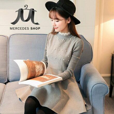 梅西蒂絲Mercedes Shop:《現貨出清5折》立領蕾絲釘珠毛呢長袖洋裝-S-2XL-梅西蒂絲(現貨+預購)