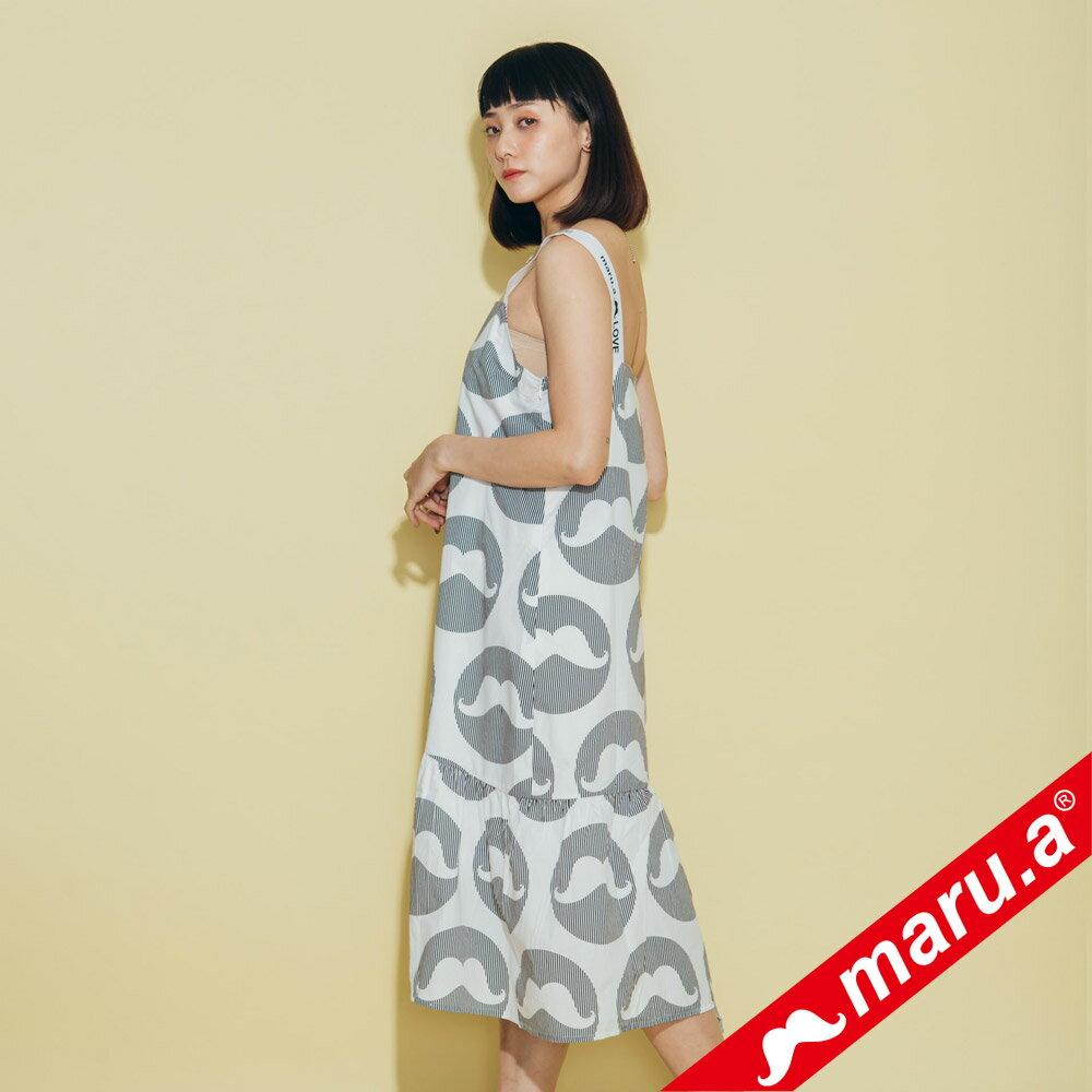 【maru.a】鬍子泡泡條紋拼接洋裝(2色)8327119 1