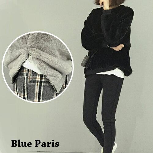上衣 - 羅紋袖口側開拉鍊羊羔毛長袖T恤【29173】藍色巴黎《2色》現貨 + 預購 0