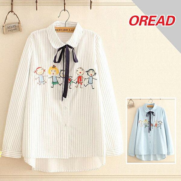 *ORead*刺繡棉布繫帶蝴蝶結寬鬆襯衫(2色F碼) 0