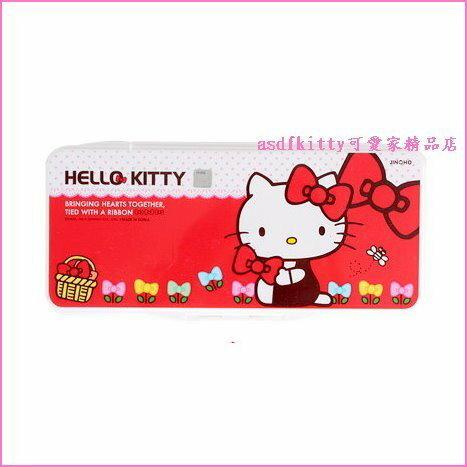 asdfkitty可愛家☆KITTY紅結版水彩調色盤/有蓋子附海綿-韓國正版商品