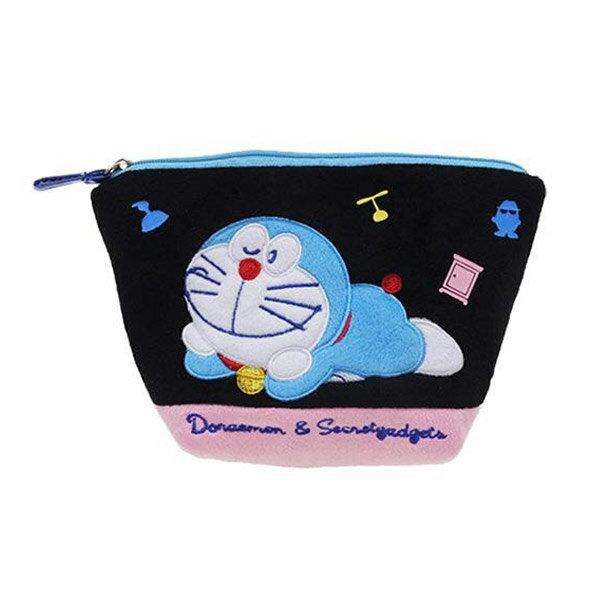 黑色款【日本進口正版】哆啦A夢 DORAEMON 船型 化妝包 收納包 筆袋 鉛筆盒 小叮噹 - 150601