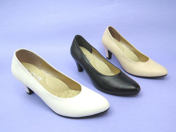 *高跟鞋* 簡約舒適高跟尖頭包鞋23-9952(粉/黑/白/米)☆【彩虹屋】☆現+預