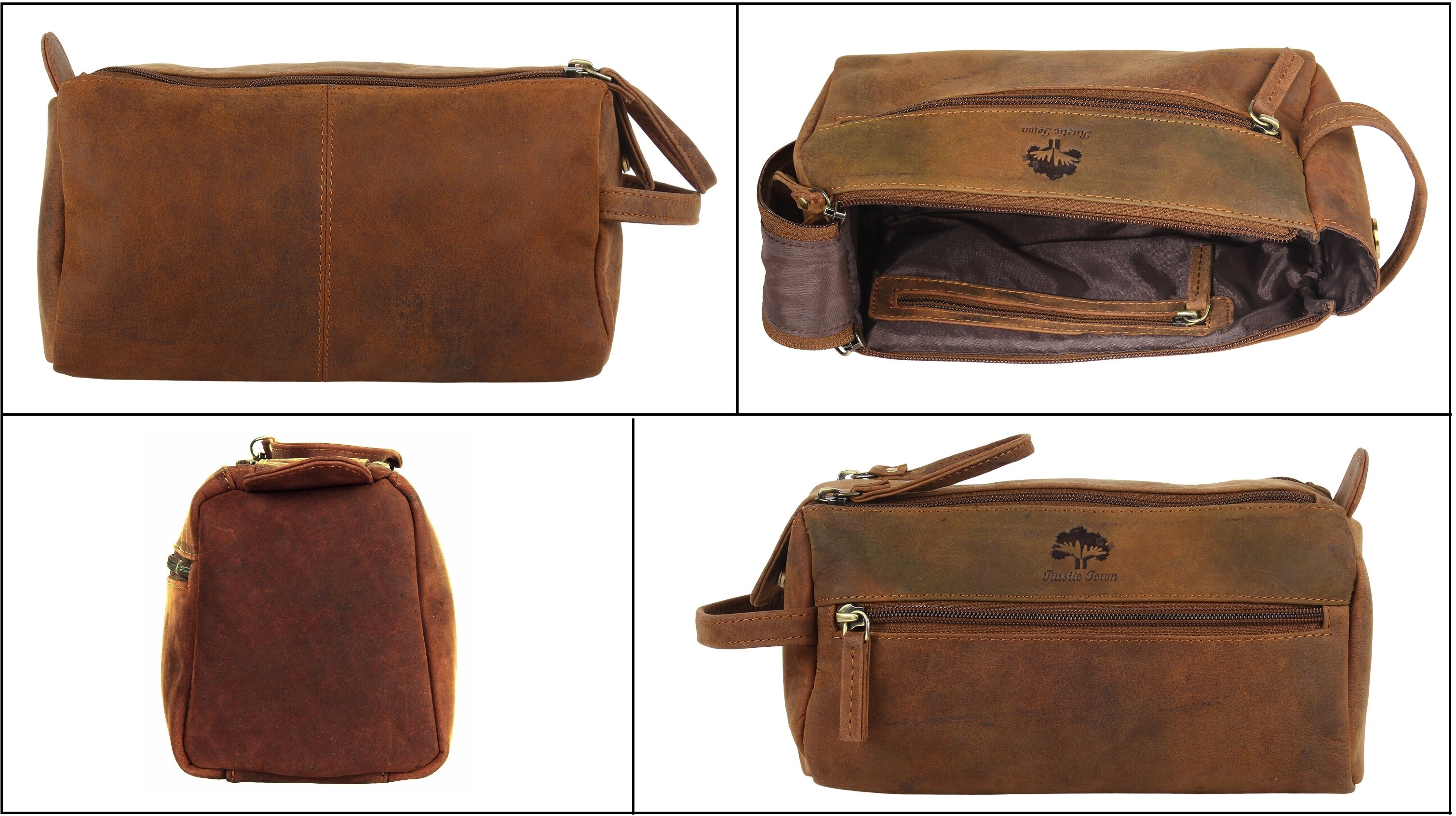 Rustic Town Handmade Buffalo Genuine Leather Toiletry Bag Dopp Kit Shaving And Grooming For Travel