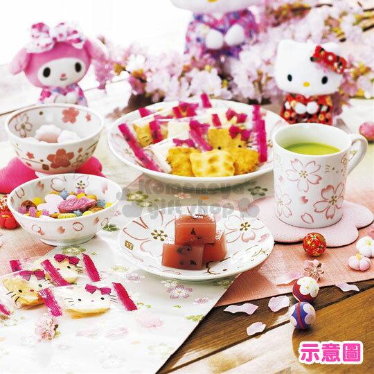 〔小禮堂〕Hello Kitty 日製陶瓷碗《白.大臉.手繪風.櫻花滿版》 1
