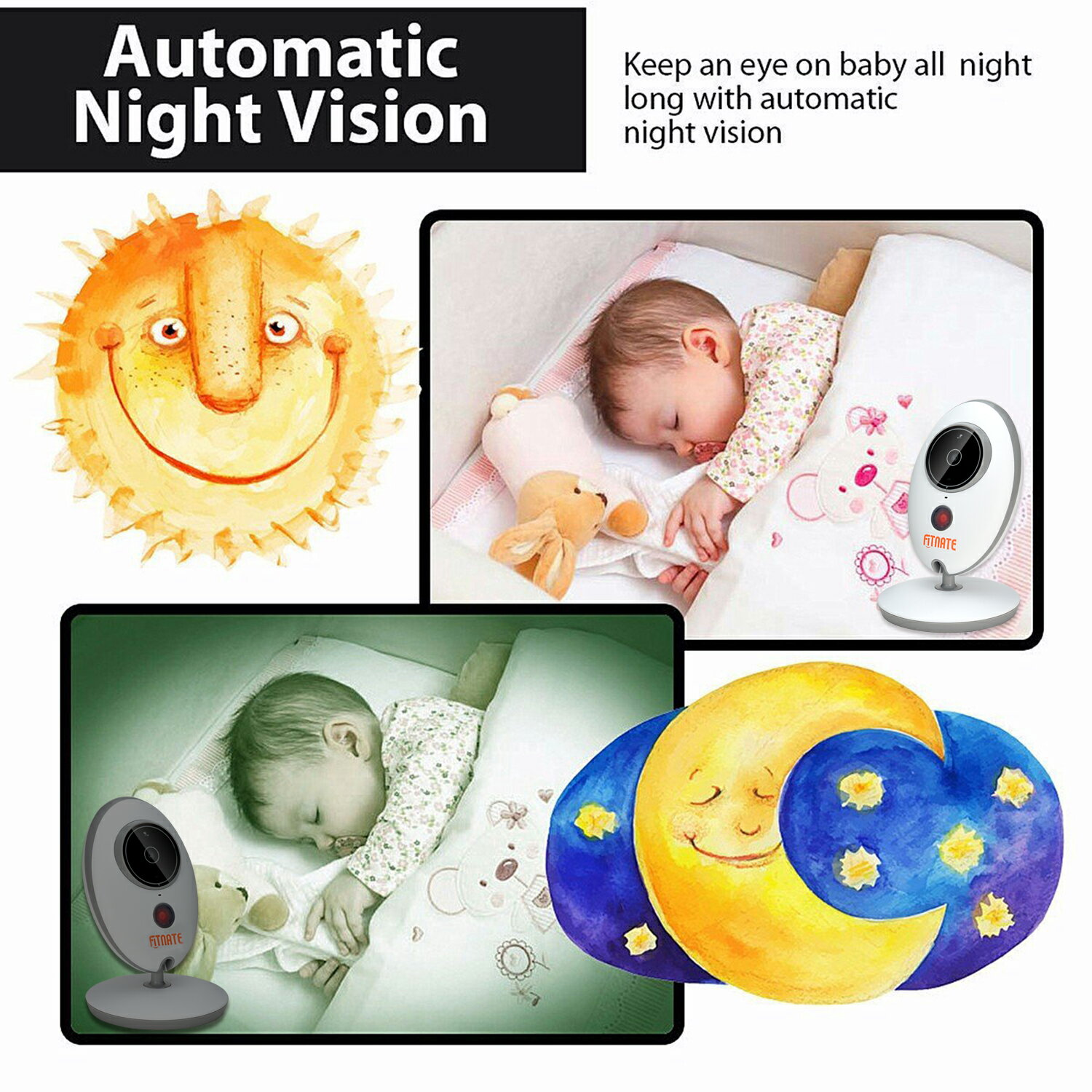 Fitnate®  Night Vision Wireless Video Baby Monitor with Digital Camera,Temperature Monitoring & 2 Way Talkback System, Built-in Remote Lullabies, More Strong Signal, Larger Monitor 9