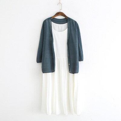 韓系日系女裝針織衫V領單排扣七分袖防曬衣開衫樂天時尚館。預購。[全店免運]