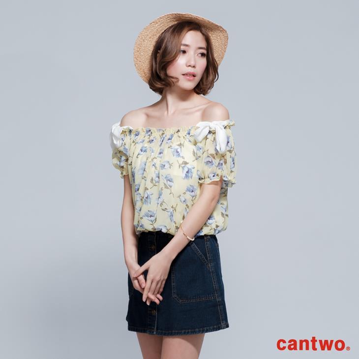 cantwo雪紡印花兩件式短袖上衣(共三色) 1