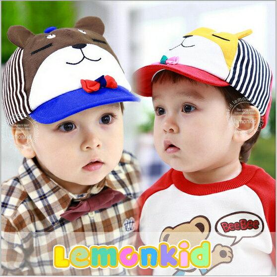 Lemonkid◆可愛紳士眯眯熊立體耳朵造型春秋小鴨舌兒童帽