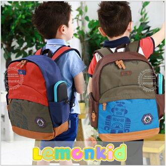 WallFree窩自在★時尚帥氣機器人質感徽章LOGO兒童書包雙肩包休閒後背包
